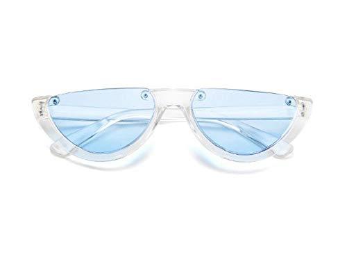 WSKPE Sonnenbrille,Cool Trendige Hälfte Frame Sonnenbrille Cat Eye Sonnenbrille Frauen Sonnenbrille Klare,Blaue Linse