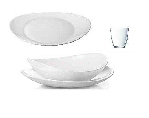 Offerta prometeo servizio piatti x 12 persone 48 pezzi con bicchieri omaggio prometeo bianco bormioli