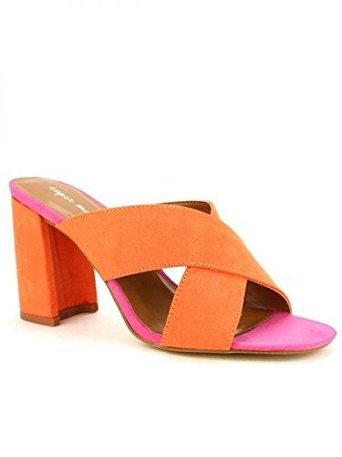 Cendriyon, Sandale Colors Orange Fushia SUPERMODA Chaussures Femme Orange