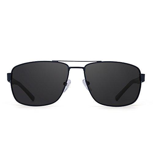 Occhiali da sole polarizzati guida aviatore telaio metallo lenti piazza bicchieri uomini donne (blu/grigio polarizzato)