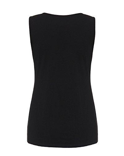 ZANZEA Femmes Sexy Eté Débardeur Sans Manches Shirt en Dentelle Floral Broderie Vest de Plage Noir