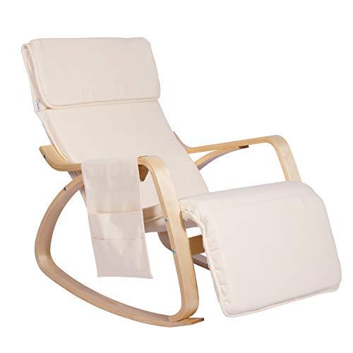 WOLTU® Schaukelstuhl SKS02cm Relaxstuhl Sessel Schaukelsessel Schwingsessel 5-Fach verstellbares Fußteil mit Seitentasche Leinen Holz Cremeweiß -