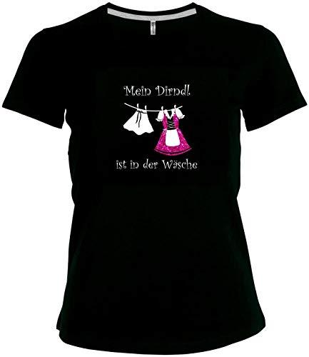 BlingelingShirts Elegantes Shirt Oktoberfest Glitzeraufdruck Damen Wiesn Spruch Mein Dirndl ist in der Wäsche, T-Shirt, Grösse XXXXL, schwarz