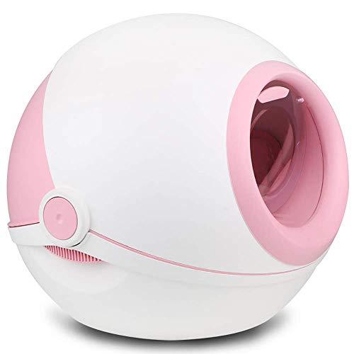 Lettiera per gatti, Cassettiera per gatti Jumbo con vaschetta per lettiere per gatti, filtro per carbone, stuoia per lettiere e rivestimenti sostitutivi, rotolo arrotondato completamente chiuso,Pink