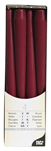 4 er Pack Kerzen Spitzkerzen PAP STAR in Rot Dunkelrot Bordeaux