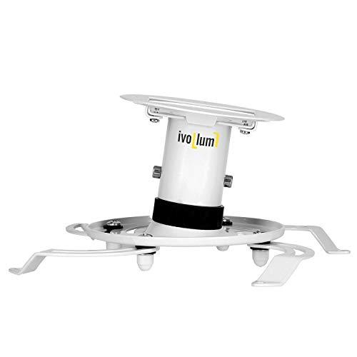 ivolum universal Beamer-Deckenhalterung PDH130 - weiß - Traglast bis 15 Kg - neigbar - 13cm Deckenabstand - Deckenhalterung für Beamer