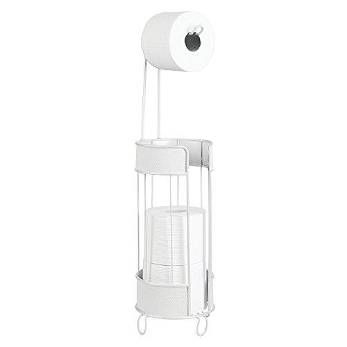 mDesign Toilettenpapierhalter stehend – moderner Papierrollenhalter fürs Badezimmer – Klopapierhalter für mehrere Rollen – mit Halter für 3 Reserverollen – weiß