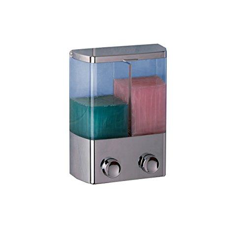 Rayen Dispensador de jabón, 2 Compartimentos, Plateado