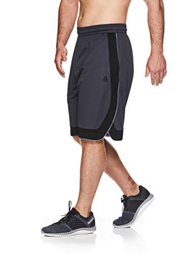 Reebok Men's Mesh Basketball Gym & Running Shorts w/Elastic Drawstring Waistband & Pockets - Dunk Shot Ebony/Black, X-Large -