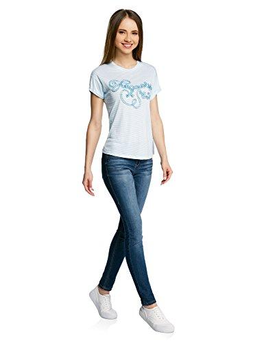 oodji Ultra Damen Gestreiftes T-Shirt mit Lurex-Schriftzug Weiß (1065S)