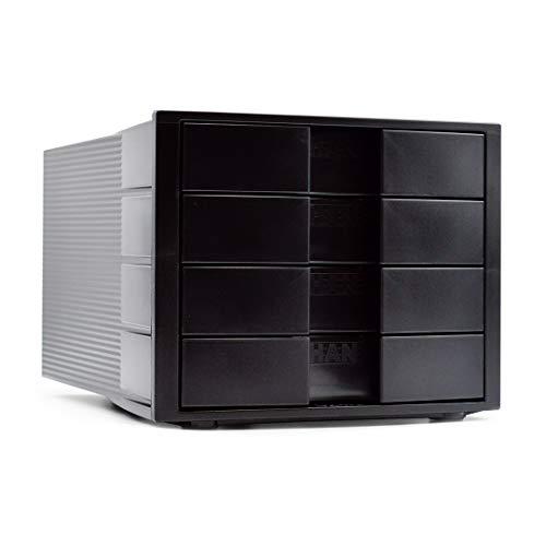 Han Schubladenbox Impuls – Stapelbares Ablagesystem mit 4 großen, geschlossenen Schubladen für DIN A4/C4 inkl. Beschriftungsschilder – 29,4 x 36,8 x 23,5 cm (BxTxH) – Schwarz