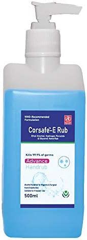 Corsafe-E Instant Sanitizing 80% Alcohol Hand Sanitizer WHO Formula Hand Rub with Moisturiser - 500 ml