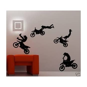 4 X MOTOCROSS BIKE wall art stickers kids bedroom decal