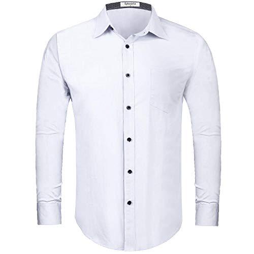 Sykooria Camisas clásicas para Hombre Blusas de Negocios de Manga Larga Camisas de Vestir básicas de Ajuste Regular con Bolsillo en el Pecho