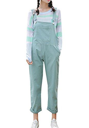 COCO clothing Vintage Floral Straigth Petos Jeans les Mujer Senora Vaqueros Monos Relaxed Anchos Pantalones 7/8 Sueltos Cargo Pants (verde claro, M)