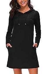 Kormei Damen Langarm Hoodie Bodycon Stretch Sweatshirt Mini Kleider mit 2 Taschen&Spitze Schwarz M