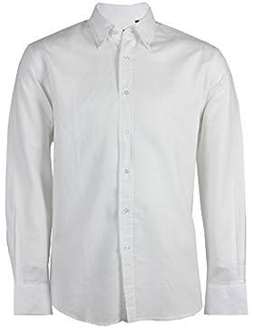 Camicia in misto lino manica lunga bianca