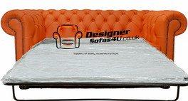 Chesterfield 2-Sitzer Sofa Schlafsofa orange Leder - Leder-sofas Und Zweisitzer