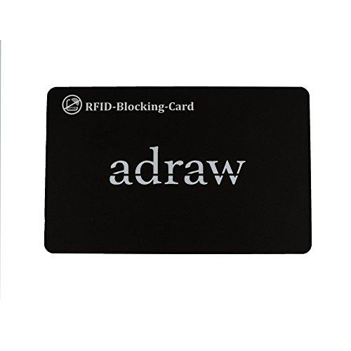 adraw RFID Blocker/Schutzkarte - NFC Störsender - Eine Karte die die gesamte Geldbörse vor Datendiebstahl schützt - keine einzelnen RFID Schutzhüllen nötig | Für Kreditkarten, EC-Karte (1-Stück)