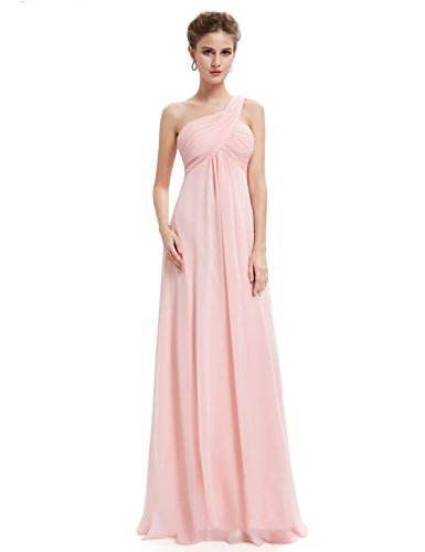 Ever Pretty Damen Lange One Shoulder Chiffon Abendkleider Festkleider 09816,  ( Pink MDL(B) - 48 )