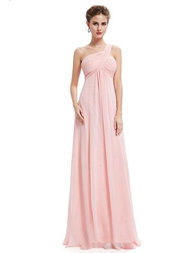 Ever Pretty Damen Lange One Shoulder Chiffon Abendkleider Festkleider Größe 42 Rosa