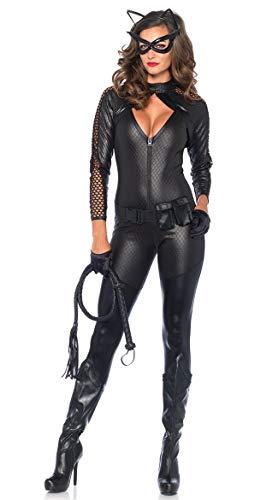 Frauen Babydoll Sexy Lackleder Großes Korsett Schickes Kleid Kostüm Catwoman Kostümparty Cosplay Tiefer V-Ausschnitt Teddy Nachthemd Mit Gürtel Und Maske,Black,S (Baby Doll Maske)