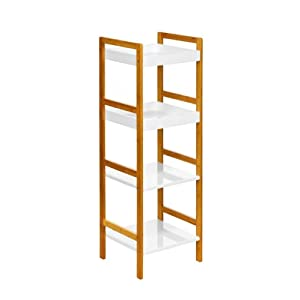 Premier Housewares Bamboo 4-Tier Shelf Unit - White