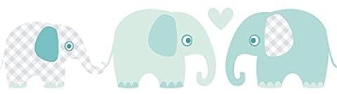 lovely label Bordüre selbstklebend ELEFANTEN MINT/GRAU - Wandbordüre Kinderzimmer / Babyzimmer mit Elefanten in versch. Farben - Wandtattoo Schlafzimmer Mädchen & Junge, Wanddeko Baby / Kinder