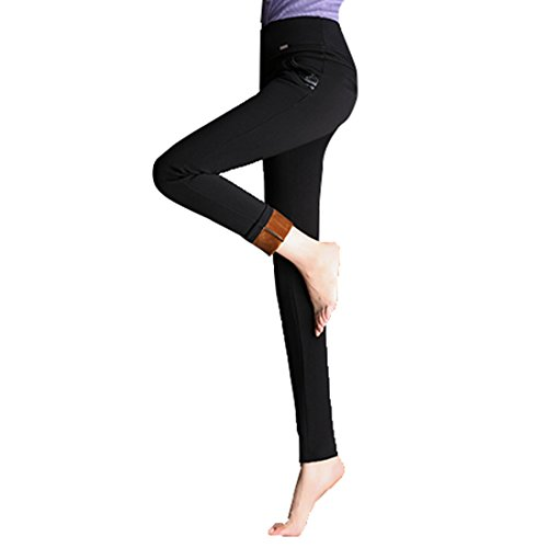 Autunno Inverno Donne Magro Ansimare Più Velluto Spesso Vita Alta Modifica Pantaloni A02: Nero