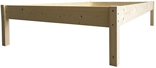 LIEGEWERK Erhöhtes Bett Holz Massivholz Holzbett 90 100 120 140 160 180 200 x 200cm (90cm x 200cm, Betthöhe 55cm)