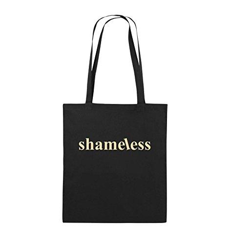Comedy Bags - shameless - LOGO - Jutebeutel - lange Henkel - 38x42cm - Farbe: Schwarz / Silber Schwarz / Beige