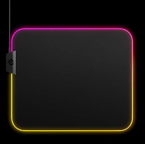 SteelSeries QcK Prism Cloth - Tapis de souris de jeu en tissu - Éclairage RVB 2 zones - Taille M