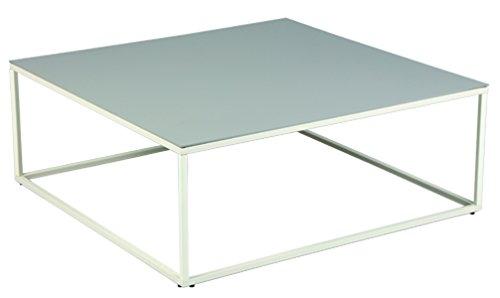 PEGANE Table Basse en Acier et céramique laqué Gris Clair - Dim: L 89,5 x l 89,5 x Ht 34 cm