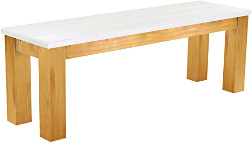Brasilmöbel Sitzbank \'Rio Classico\' 130 cm, Pinie Massivholz, Farbton Snow - Honig