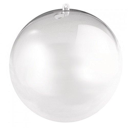 Rayher Hobby boule en plastique perforée en un lot de 2 – boule transparente de 16 cm pour les décos de noël, de mariage & Cie. – boule de noel avec un trou de 15 mm pour chaines LED – cristal transparent