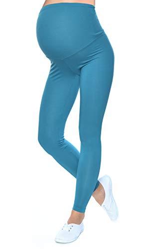 Mija - Qualität Komfortable UmstandsLeggings für Schwangere Lange Hose 1042 (M/L, Türkis)
