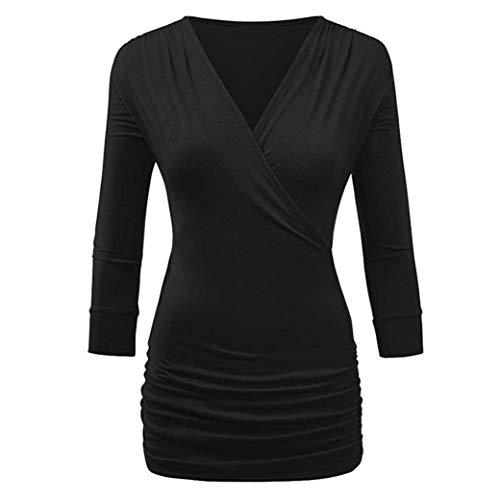 Honestyi Damen Langarmshirt Tops Elegant T-Shirt Sweatshirt Bluse Frauen Casual Drei Viertel Solid Wrap Front Drape Top Bluse (Wrap Jumper)