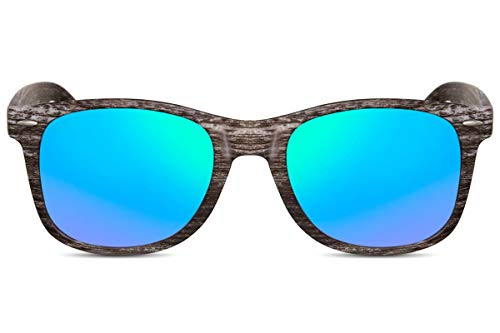 Cheapass Sonnenbrille Verspiegelt Braun Grün-Blau Holz-Optik Natur Wood-en UV-400 Plastik Damen Herren