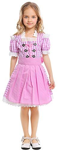 MOMBEBE COSLAND Mädchen Trachtenkleid Oktoberfest Kostüm Dirndl Karneval (Rosa, - Dirndl Kostüm Oktoberfest
