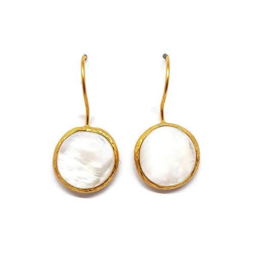6 - Mystic Jewels by Dalia - Pendientes Largos Redondos con Piedra Natural Mujer Fiestas Boda, Varios Colores (Blanco)