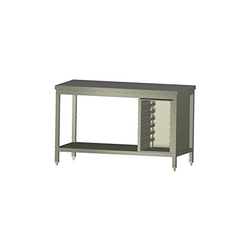Arbeitstisch mit Grundboden und Einschubregister L 2900 x T 700 x H 850 mm, Edelstahl 1.4301, Made in Germany