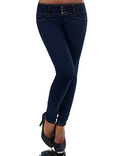 N447 Damen Jeans Hose Hüfthose Damenjeans Hüftjeans Röhrenjeans Röhrenhose Röhre, Farben:Blau, Größen:40 (L)