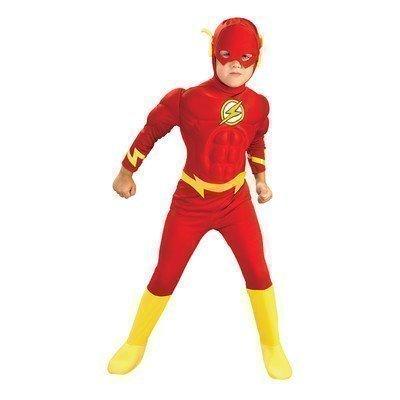 Flash Deluxe Muskel Brust Superheld büchertag Kostüm verkleiden Outfit 1-8 Jahre - Rot, Rot, 7-8 Years (Jungen Superhelden Kostüme)