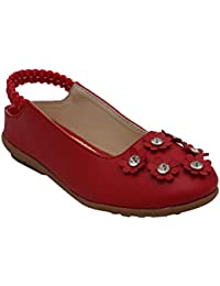 D'chica Fancy Synthetic Love Red Ballerinas for Girls