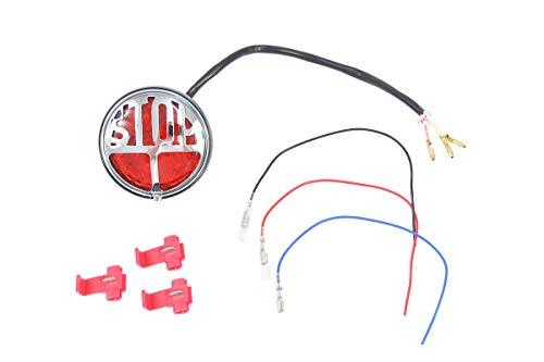 "Rücklicht für Oldtimer-Motorräder - LED, mit Chrom-Emblem\""STOP\"""