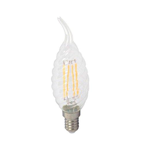 V-TAC 4388E144W 220fino a 240V Filament Nostalgia LED vetro forma di gocce per candele scanalato lampada trasparente 3000K, luce bianca calda 400lm, 300° angolo di diffusione di, dimmerabile VT VT-1995D