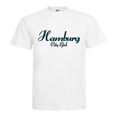 MDMA T-Shirt Hamburg City Girl N14-mdma-t00704-345 Textil white / Motiv tuerkis Gr. XXL