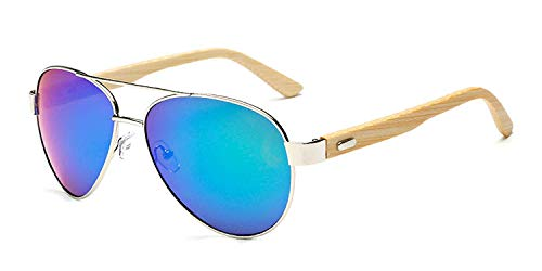 WERERT Sportbrille Sonnenbrillen Bamboo Sunglasses Men Wooden Metal Women Mirror Sun Glasses for Men Drive Retro