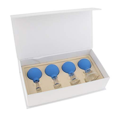 Hellery 4er Set Saugnäpfe Glas Vakuum Schröpfen Gläser Vakuumsauger Tassen Körper Massage für Muskelschmerzen