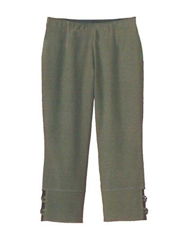 AdoniaMode Leichte Damen 7/8 Stretch-Hose mit Dehnbund Sommer-Jeans Knotenband, Khaki Gr.52